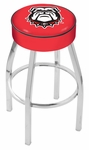 University of Georgia 25'' Chrome Finish Swivel Backless Counter Height Stool with 4'' Thick Seat [L8C125GA-DOG-FS-HOB]