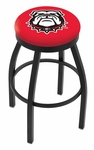 University of Georgia 25'' Black Wrinkle Finish Swivel Backless Counter Height Stool with Accent Ring [L8B2B25GA-DOG-FS-HOB]