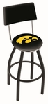 University of Iowa 25'' Black Wrinkle Finish Swivel Counter Height Stool with Cushioned Back [L8B425IOWAUN-FS-HOB]