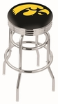 University of Iowa 25'' Chrome Finish Double Ring Swivel Backless Counter Height Stool with Ribbed Accent Ring [L7C3C25IOWAUN-FS-HOB]