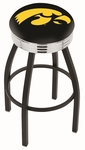 University of Iowa 25'' Black Wrinkle Finish Swivel Backless Counter Height Stool with Ribbed Accent Ring [L8B3C25IOWAUN-FS-HOB]