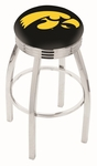 University of Iowa 25'' Chrome Finish Swivel Backless Counter Height Stool with 2.5'' Ribbed Accent Ring [L8C3C25IOWAUN-FS-HOB]