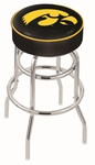 University of Iowa 25'' Chrome Finish Double Ring Swivel Backless Counter Height Stool with 4'' Thick Seat [L7C125IOWAUN-FS-HOB]