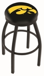 University of Iowa 25'' Black Wrinkle Finish Swivel Backless Counter Height Stool with Accent Ring [L8B2B25IOWAUN-FS-HOB]