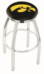 University of Iowa 25'' Chrome Finish Swivel Backless Counter Height Stool with Accent Ring [L8C2C25IOWAUN-FS-HOB]