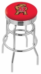 University of Maryland 25'' Chrome Finish Double Ring Swivel Backless Counter Height Stool with Ribbed Accent Ring [L7C3C25MRYLND-FS-HOB]