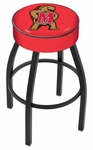 University of Maryland 25'' Black Wrinkle Finish Swivel Backless Counter Height Stool with 4'' Thick Seat [L8B125MRYLND-FS-HOB]