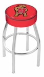 University of Maryland 25'' Chrome Finish Swivel Backless Counter Height Stool with 4'' Thick Seat [L8C125MRYLND-FS-HOB]