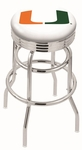University of Miami 25'' Chrome Finish Double Ring Swivel Backless Counter Height Stool with Ribbed Accent Ring [L7C3C25MIA-FL-FS-HOB]