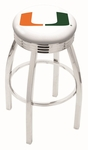 University of Miami 25'' Chrome Finish Swivel Backless Counter Height Stool with 2.5'' Ribbed Accent Ring [L8C3C25MIA-FL-FS-HOB]