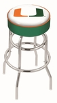 University of Miami 25'' Chrome Finish Double Ring Swivel Backless Counter Height Stool with 4'' Thick Seat [L7C125MIA-FL-FS-HOB]