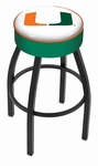 University of Miami 25'' Black Wrinkle Finish Swivel Backless Counter Height Stool with 4'' Thick Seat [L8B125MIA-FL-FS-HOB]