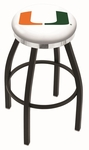 University of Miami 25'' Black Wrinkle Finish Swivel Backless Counter Height Stool with Chrome Accent Ring [L8B2C25MIA-FL-FS-HOB]