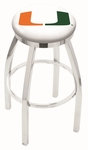 University of Miami 25'' Chrome Finish Swivel Backless Counter Height Stool with Accent Ring [L8C2C25MIA-FL-FS-HOB]