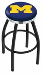 University of Michigan 25'' Black Wrinkle Finish Swivel Backless Counter Height Stool with Chrome Accent Ring [L8B2C25MICHUN-FS-HOB]
