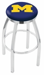 University of Michigan 25'' Chrome Finish Swivel Backless Counter Height Stool with Accent Ring [L8C2C25MICHUN-FS-HOB]