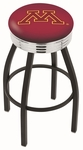 University of Minnesota 25'' Black Wrinkle Finish Swivel Backless Counter Height Stool with Ribbed Accent Ring [L8B3C25MINNUN-FS-HOB]