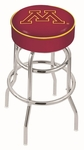 University of Minnesota 25'' Chrome Finish Double Ring Swivel Backless Counter Height Stool with 4'' Thick Seat [L7C125MINNUN-FS-HOB]