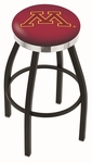 University of Minnesota 25'' Black Wrinkle Finish Swivel Backless Counter Height Stool with Chrome Accent Ring [L8B2C25MINNUN-FS-HOB]