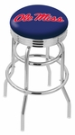 University of Mississippi 25'' Chrome Finish Double Ring Swivel Backless Counter Height Stool with Ribbed Accent Ring [L7C3C25MSSPPU-FS-HOB]