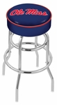 University of Mississippi 25'' Chrome Finish Double Ring Swivel Backless Counter Height Stool with 4'' Thick Seat [L7C125MSSPPU-FS-HOB]