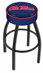 University of Mississippi 25'' Black Wrinkle Finish Swivel Backless Counter Height Stool with 4'' Thick Seat [L8B125MSSPPU-FS-HOB]