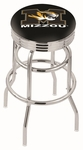 University of Missouri 25'' Chrome Finish Double Ring Swivel Backless Counter Height Stool with Ribbed Accent Ring [L7C3C25MIZZOU-FS-HOB]