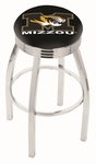 University of Missouri 25'' Chrome Finish Swivel Backless Counter Height Stool with 2.5'' Ribbed Accent Ring [L8C3C25MIZZOU-FS-HOB]