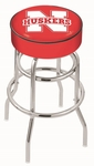 University of Nebraska 25'' Chrome Finish Double Ring Swivel Backless Counter Height Stool with 4'' Thick Seat [L7C125NEBRUN-FS-HOB]