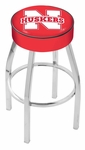 University of Nebraska 25'' Chrome Finish Swivel Backless Counter Height Stool with 4'' Thick Seat [L8C125NEBRUN-FS-HOB]