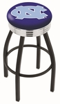 University of North Carolina 25'' Black Wrinkle Finish Swivel Backless Counter Height Stool with Ribbed Accent Ring [L8B3C25NORCAR-FS-HOB]