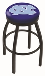 University of North Carolina 25'' Black Wrinkle Finish Swivel Backless Counter Height Stool with Accent Ring [L8B2B25NORCAR-FS-HOB]