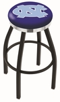 University of North Carolina 25'' Black Wrinkle Finish Swivel Backless Counter Height Stool with Chrome Accent Ring [L8B2C25NORCAR-FS-HOB]