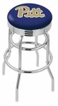 University of Pittsburgh 25'' Chrome Finish Double Ring Swivel Backless Counter Height Stool with Ribbed Accent Ring [L7C3C25PITTSB-FS-HOB]