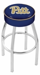 University of Pittsburgh 25'' Chrome Finish Swivel Backless Counter Height Stool with 4'' Thick Seat [L8C125PITTSB-FS-HOB]
