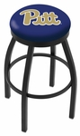 University of Pittsburgh 25'' Black Wrinkle Finish Swivel Backless Counter Height Stool with Accent Ring [L8B2B25PITTSB-FS-HOB]