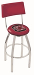 University of South Carolina 25'' Chrome Finish Swivel Counter Height Stool with Cushioned Back [L8C425SOUCAR-FS-HOB]