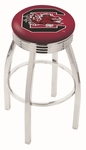 University of South Carolina 25'' Chrome Finish Swivel Backless Counter Height Stool with 2.5'' Ribbed Accent Ring [L8C3C25SOUCAR-FS-HOB]