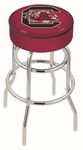 University of South Carolina 25'' Chrome Finish Double Ring Swivel Backless Counter Height Stool with 4'' Thick Seat [L7C125SOUCAR-FS-HOB]