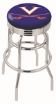 University of Virginia 25'' Chrome Finish Double Ring Swivel Backless Counter Height Stool with Ribbed Accent Ring [L7C3C25VRGNIA-FS-HOB]