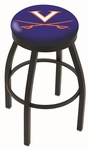 University of Virginia 25'' Black Wrinkle Finish Swivel Backless Counter Height Stool with Accent Ring [L8B2B25VRGNIA-FS-HOB]