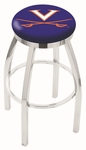 University of Virginia 25'' Chrome Finish Swivel Backless Counter Height Stool with Accent Ring [L8C2C25VRGNIA-FS-HOB]