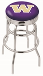 University of Washington 25'' Chrome Finish Double Ring Swivel Backless Counter Height Stool with Ribbed Accent Ring [L7C3C25WASHUN-FS-HOB]