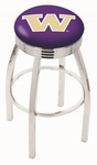 University of Washington 25'' Chrome Finish Swivel Backless Counter Height Stool with 2.5'' Ribbed Accent Ring [L8C3C25WASHUN-FS-HOB]