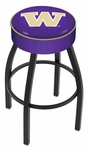 University of Washington 25'' Black Wrinkle Finish Swivel Backless Counter Height Stool with 4'' Thick Seat [L8B125WASHUN-FS-HOB]