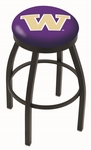 University of Washington 25'' Black Wrinkle Finish Swivel Backless Counter Height Stool with Accent Ring [L8B2B25WASHUN-FS-HOB]