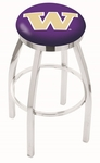 University of Washington 25'' Chrome Finish Swivel Backless Counter Height Stool with Accent Ring [L8C2C25WASHUN-FS-HOB]