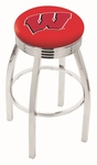 University of Wisconsin 25'' Chrome Finish Swivel Backless Counter Height Stool with 2.5'' Ribbed Accent Ring [L8C3C25WISC-W-FS-HOB]