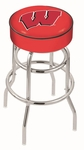 University of Wisconsin 25'' Chrome Finish Double Ring Swivel Backless Counter Height Stool with 4'' Thick Seat [L7C125WISC-W-FS-HOB]