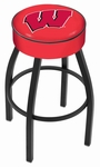 University of Wisconsin 25'' Black Wrinkle Finish Swivel Backless Counter Height Stool with 4'' Thick Seat [L8B125WISC-W-FS-HOB]